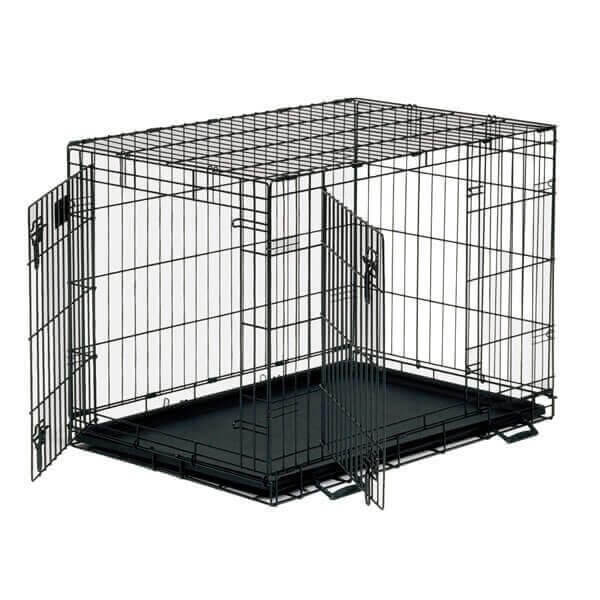 Dog Crate Black/Brown Folds Flat